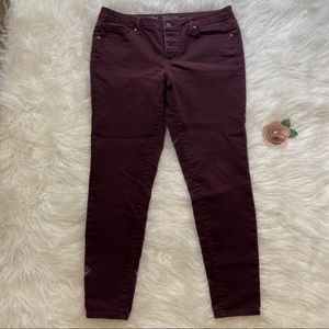 Mossimo Size 12/31R Maroon Mid-Rise Skinny Jeans
